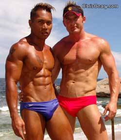 men in bikinis.